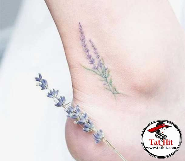 lavender tattoo ankle