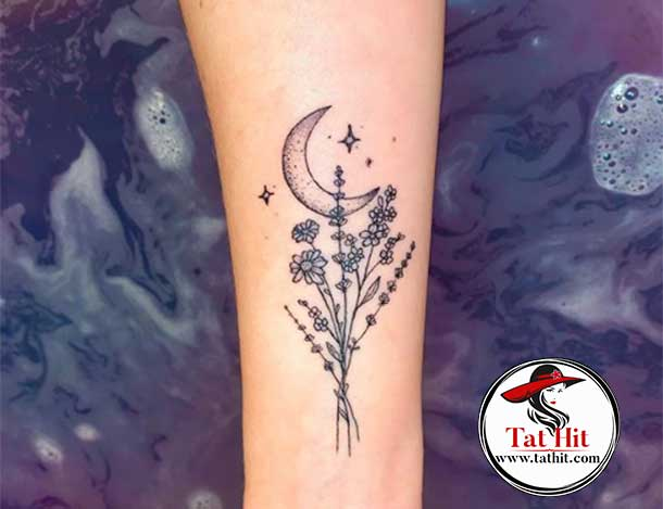 lavender with moon tattoo idea
