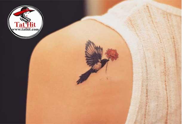 magpie-flower-tattoo