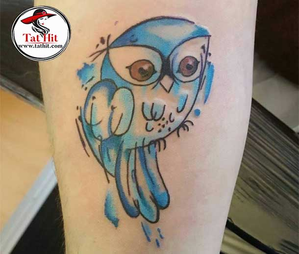 pure watercolor owl tattoo