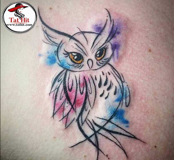 simple watercolor owl tattoo