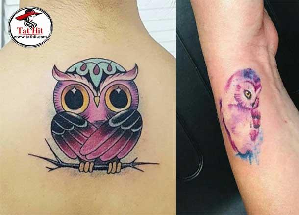 small watercolor owl tattoo