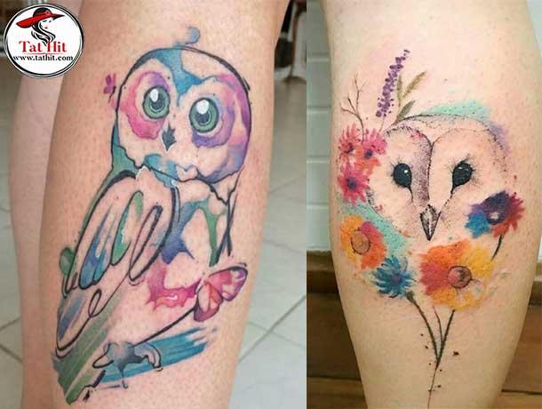 watercolor owl head tattoo
