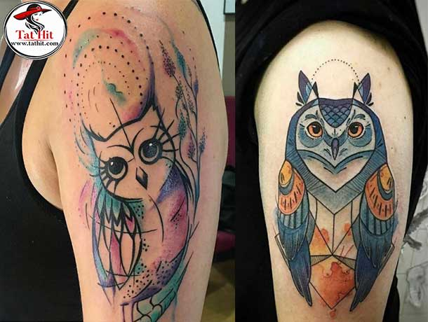 watercolor owl tattoo for women