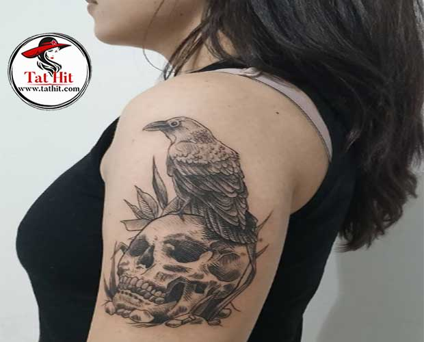 Crow skull tattoo design and meaning