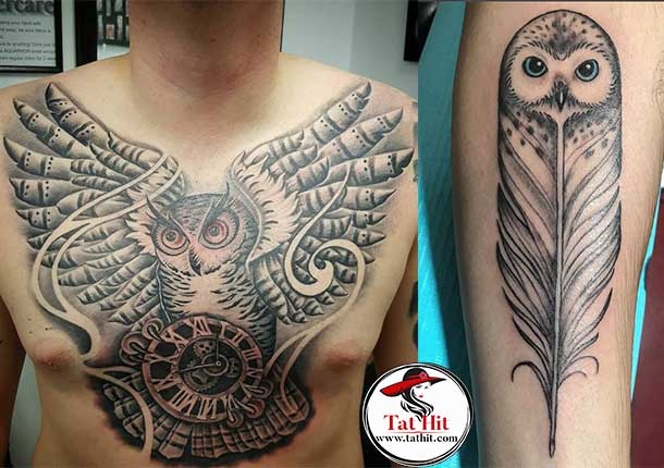 Owl Feather tattoo