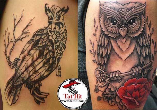 Owl and Key tattoo design