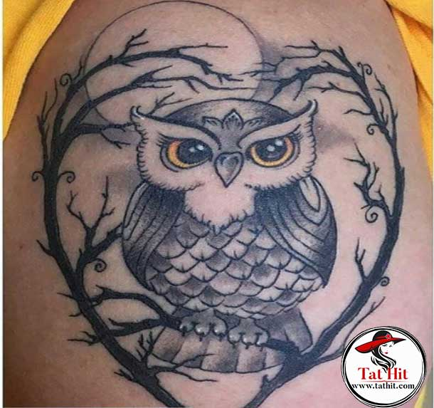 Owl with moon tattoo ideas