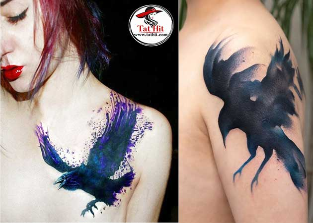 watercolor-crow-tattoo-designs