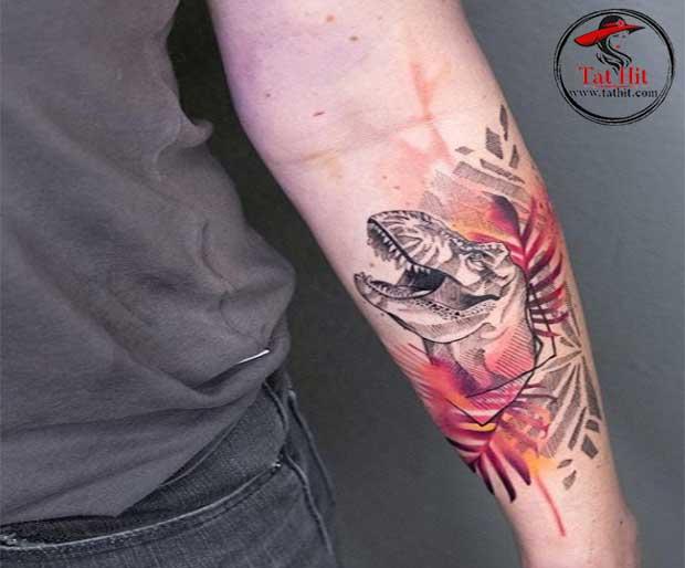 Dinosaur head tattoo design for men