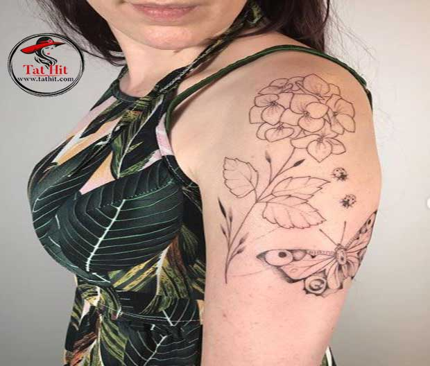 Hydrangea and butterfly tattoo