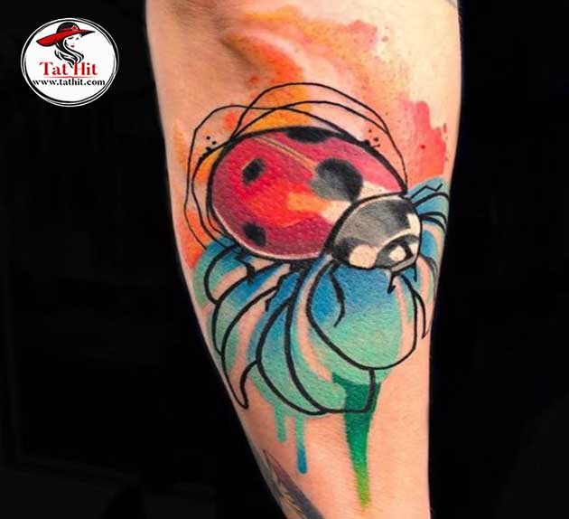 Watercolor Ladybug Tattoo