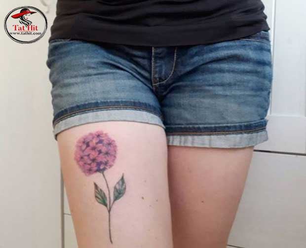 hydrangea tattoo on leg with leaves