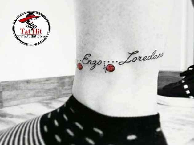 text with ladybug tattoo