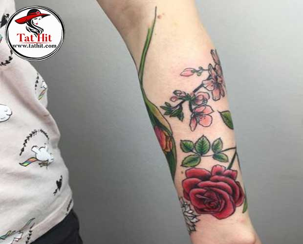 Rose With Lily Of The Valley Flower Tattoos