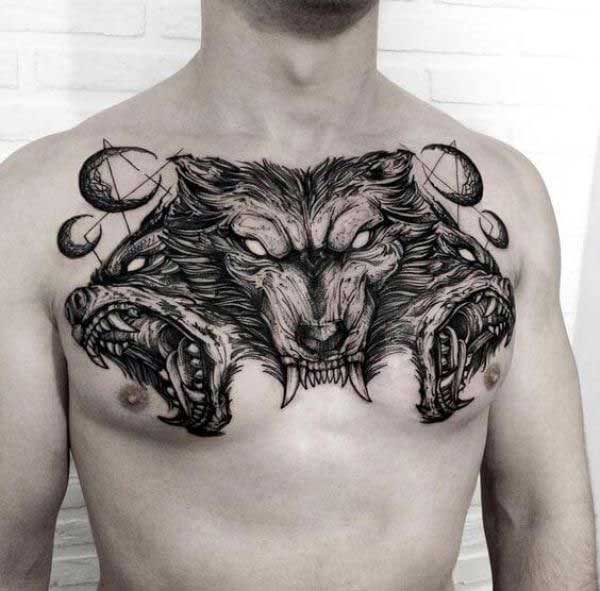 Cerberus tattoo chest