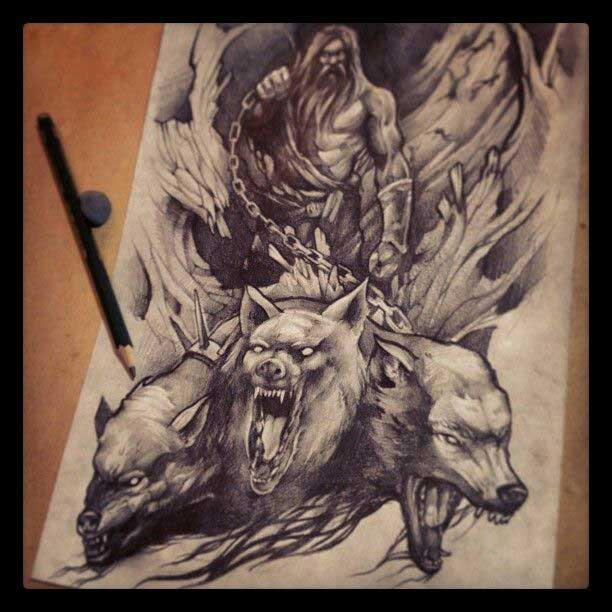 Cerberus tattoo traditional