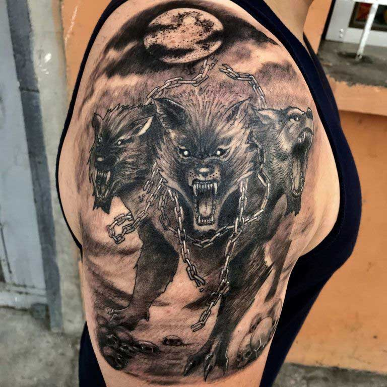 cerberus tattoo on shoulder