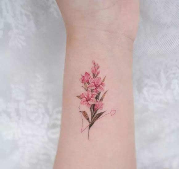 gladiolus flower tattoo