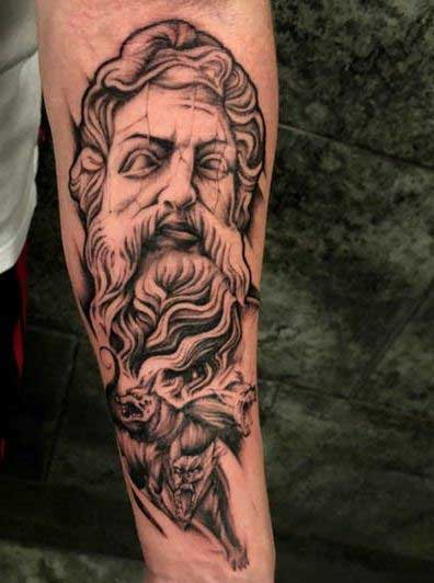 hades and cerberus tattoo on arm