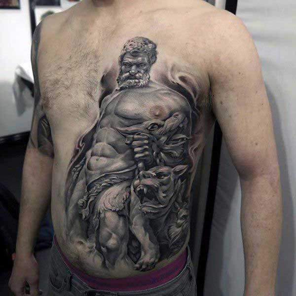 hades and cerberus tattoo on chest for men