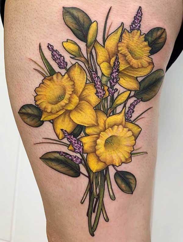 yellow gladioli tattoo