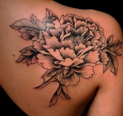 Black And Grey Larkspur Flower Tattoo On Shoulder