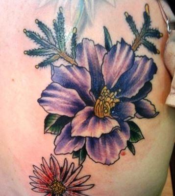 Classic Larkspur Flower Tattoo On Shoulder