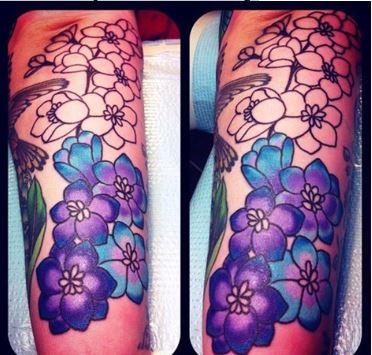 Colorful Larkspur Flower Tattoo Design