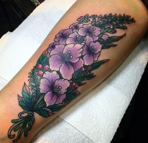 Larkspur Flower Tattoo Design On Arm