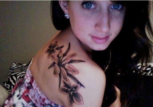 Larkspur Flower Tattoo Design On Shoulder
