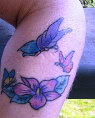 Larkspur Flower Tattoo With Butterflies