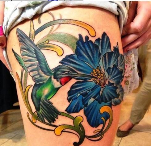 Larkspur Flower Tattoo With Flying Bird