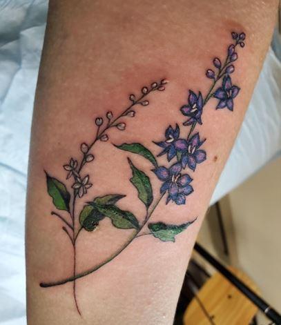 Larkspur Flower Tattoo strip On Leg