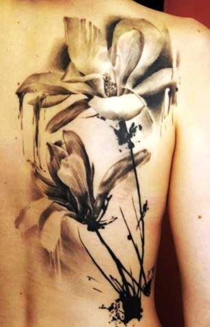 Watercolor Black Inked Larkspur Flower Tattoo
